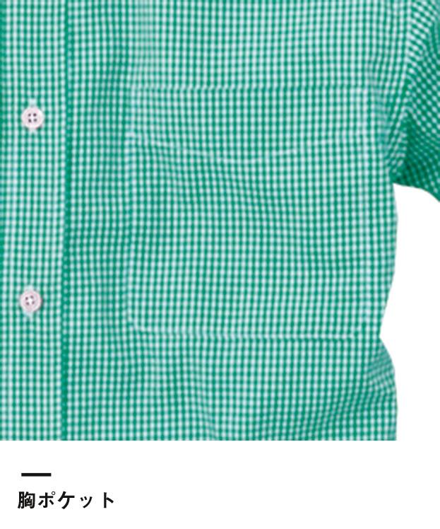 メンズ半袖ギンガムチェックシャツ(SA-3010)胸ポケット