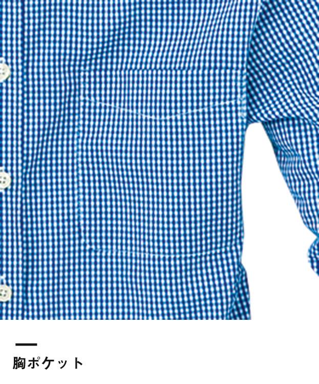 レディース長袖ギンガムチェックシャツ(SA-4011)胸ポケット